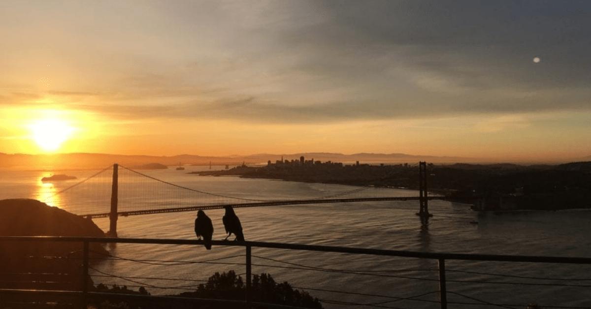 sunset hike in golden gate bridge